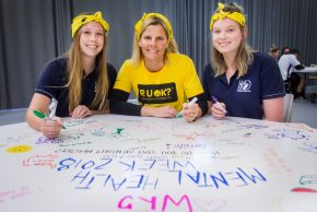 Eastern Goldfields College Studens April McNamara and Dannielle Currant with Program Coordinator of Student Servics Mrs Rebecca Kirkwood. Picture: Tori O'Connor